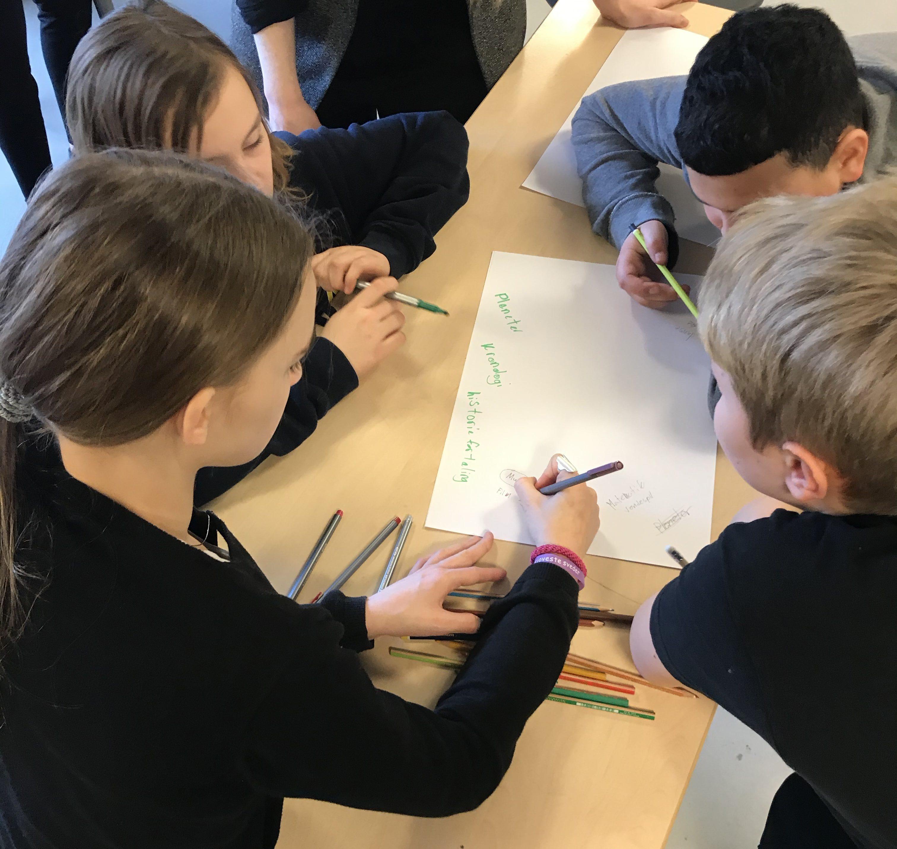 Her er børnene i gang med at finde på spil til Hopspots ved Iværksættermesse 2020