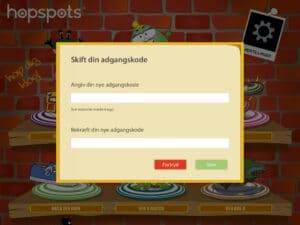 Ny adgangskode i Hopspots app